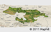 Satellite Panoramic Map of Grad Sofija, shaded relief outside