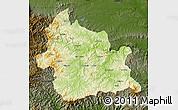 Physical Map of Kardzali, darken