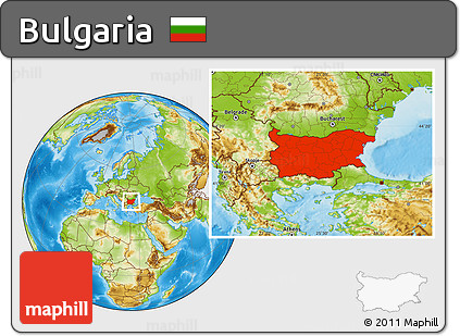 Free Physical Location Map of Bulgaria