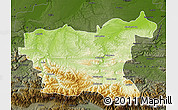 Physical Map of Lovec, darken