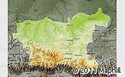Physical Map of Lovec, darken, semi-desaturated