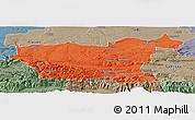 Political Panoramic Map of Lovec, semi-desaturated