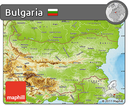Free Physical Map of Bulgaria