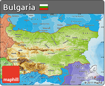 Free Physical Map of Bulgaria political shades outside shaded