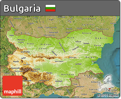 Free Physical Map of Bulgaria satellite outside