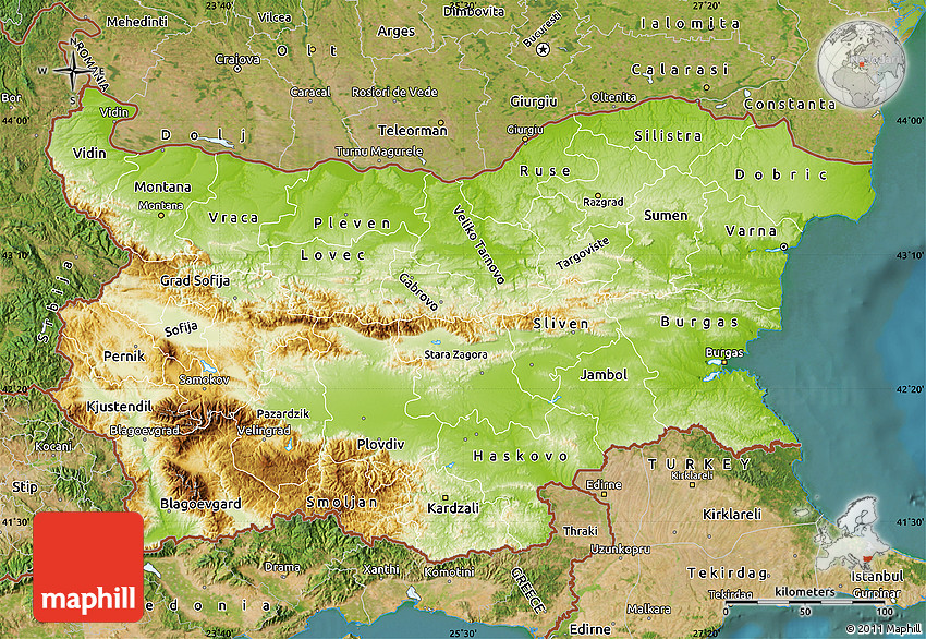 Physical Map of Bulgaria satellite outside