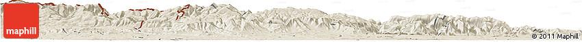 Shaded Relief Horizon Map of Montana