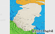 Shaded Relief Map of Montana, political outside