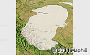 Shaded Relief Map of Montana, satellite outside
