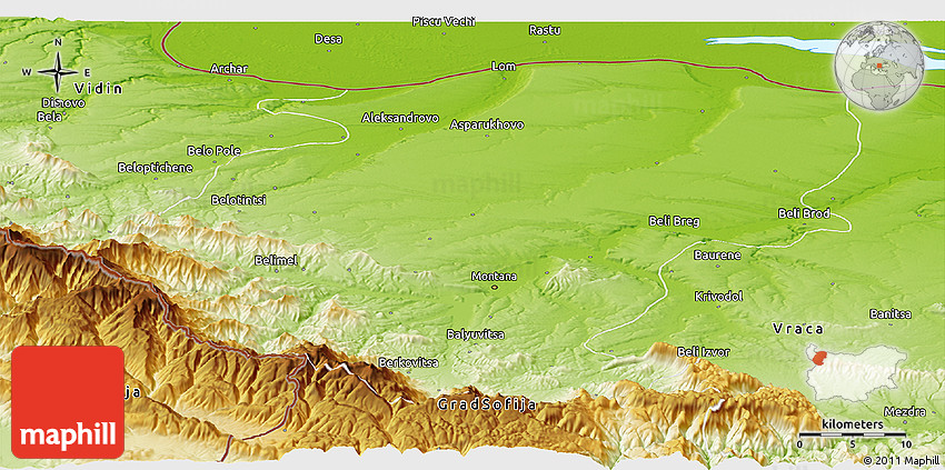 Physical Panoramic Map Of Montana