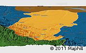 Political Panoramic Map of Montana, darken