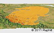 Political Panoramic Map of Montana, satellite outside