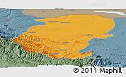 Political Panoramic Map of Montana, semi-desaturated