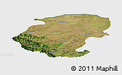 Satellite Panoramic Map of Montana, single color outside