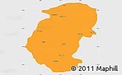 Political Simple Map of Montana, single color outside