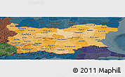 Political Shades Panoramic Map of Bulgaria, darken