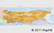 Political Shades Panoramic Map of Bulgaria, lighten