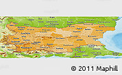 Political Shades Panoramic Map of Bulgaria, physical outside