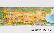 Political Shades Panoramic Map of Bulgaria, satellite outside, bathymetry sea