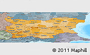 Political Shades Panoramic Map of Bulgaria, semi-desaturated, land only