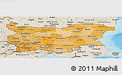 Political Shades Panoramic Map of Bulgaria, shaded relief outside, bathymetry sea