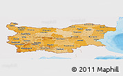 Political Shades Panoramic Map of Bulgaria, single color outside