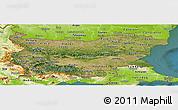 Satellite Panoramic Map of Bulgaria, physical outside, satellite sea