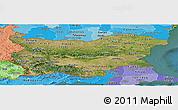 Satellite Panoramic Map of Bulgaria, political shades outside, satellite sea