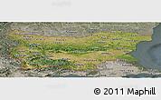 Satellite Panoramic Map of Bulgaria, semi-desaturated