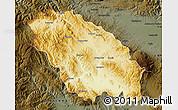 Physical Map of Pernik, darken