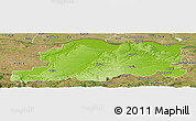 Physical Panoramic Map of Pleven, satellite outside