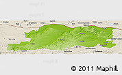Physical Panoramic Map of Pleven, shaded relief outside