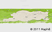 Shaded Relief Panoramic Map of Pleven, physical outside