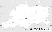 Silver Style Simple Map of Pleven, single color outside