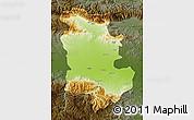Physical Map of Plovdiv, darken