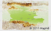 Physical Panoramic Map of Plovdiv, lighten