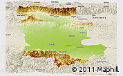 Physical Panoramic Map of Plovdiv, shaded relief outside