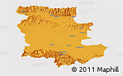 Political Panoramic Map of Plovdiv, cropped outside