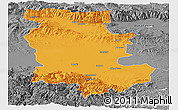 Political Panoramic Map of Plovdiv, desaturated