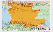 Political Panoramic Map of Plovdiv, lighten