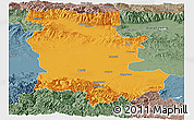 Political Panoramic Map of Plovdiv, semi-desaturated