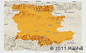 Political Panoramic Map of Plovdiv, shaded relief outside