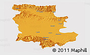 Political Panoramic Map of Plovdiv, single color outside