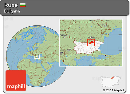 Free Savanna Style Location Map of Ruse highlighted country