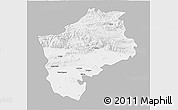 Gray 3D Map of Sliven, single color outside