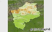 Physical 3D Map of Sliven, darken