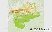 Physical 3D Map of Sliven, lighten