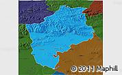 Political 3D Map of Sliven, darken
