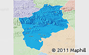 Political 3D Map of Sliven, lighten