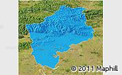 Political 3D Map of Sliven, satellite outside